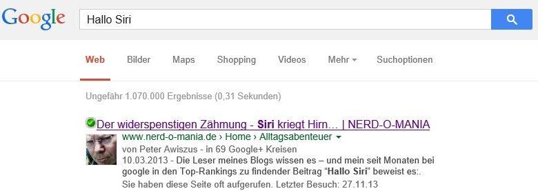 Bild von Top Suchergebnisse dank hohem google Author Rank..