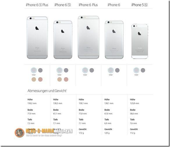 iPhone Maße Gewichte Farben