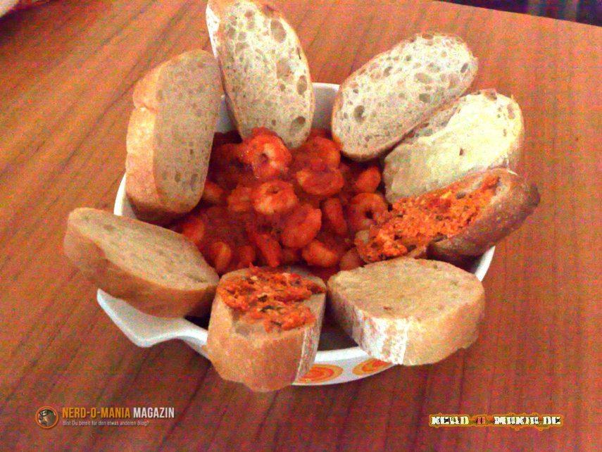 Garnelen mit Brot